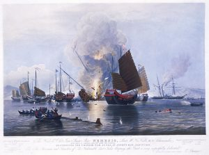The East India Company iron steam ship Nemesis, with boats from the Sulphur, Calliope, Larne and Starling, destroying Chinese war junks in Anson's Bay, January 1841.